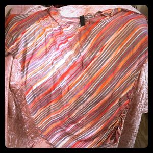 Tops - red grey orange coral multicolored striped blouse